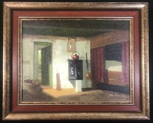 1960's Osvald (Osvi) Rasmussen Danish Oil Painting Interior Room Still Life
