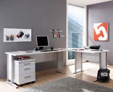 Winkelschreibtisch Schreibtisch Bürotisch OFFICE LINE mit Rollcontainer in weiß