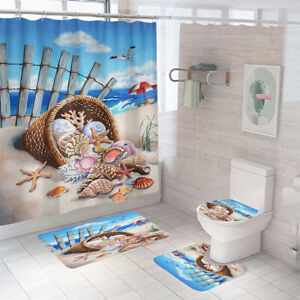 Seaside Conch Shower Curtain Bathroom Rug Set Bath Mat Non-Slip Toilet Lid Cover