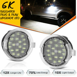 2Pcs Bright White LED Side Mirror Puddle Lights Lamp For Ford 09-14 F-150 Raptor