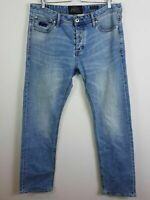 SUPERDRY Mens Size 36 Blue Straight Leg Denim Jeans