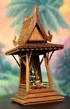 Thai Buddha Spirit House Teak Carve Brown Handcraft Wood Handmade Vintage Temple