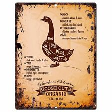 PP0660 Vintage Goose Meat Cuts Plate sign Home Restaurant Cafe Kitchen Decor