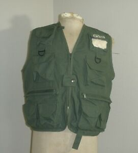 Army Green Bass Fishing Vest Mens Size S/M Outdoor America
