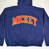 vtg Mickey Mouse Sewn Spell Out Hooded Stadium Jacket Sz M Mickey Image Lining