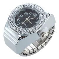 Strass Ring Uhr Ringuhr Fingeruhr Quarzuhr Uhrenring Legierung Unisex Schwarz 2I