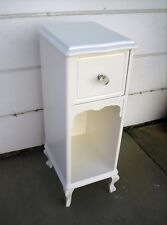 Antique White Shabby Chic Night Stand Telephone Stand Drawer Cubbyhole