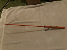 "RARE Vintage 1 Piece Wooden Ice Fishing Pole 26"" Long Old Antique"
