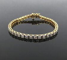 Vintage 2.94ct Diamond & 14K Yellow Gold Square Tennis Bracelet