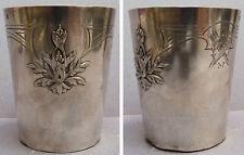 Timbale Art Nouveau ARGENT massif Minerve Modern Style 1900 silver glass 84,7 g