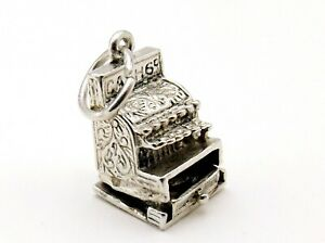 CASH REGISTER vintage sterling silver charm hollow charm opening