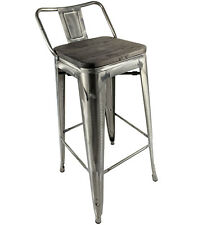 TOLIX BRUSHED STEEL METAL STOOL WOOD SEAT STACKING RETRO BISTRO CAFE RESTAURANT