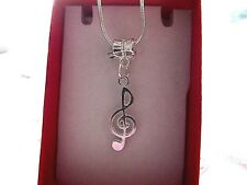 Music ,Note Pendent Charm 22 Inch Silver Plated Chain Necklace Gift Box Party