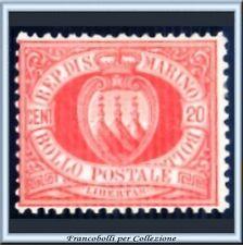 1877 San Marino Stemma centesimi 20 rosso n. 4 Nuovo