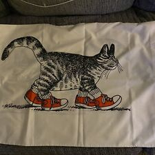 Lot Of 2 Vtg B Kliban Cat in Red Sneakers Std Size Pillow Case