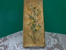 Vtg Ceramic Shabby Cottage Floral Wall Decor Gold Flowers Yellow Garden Flower