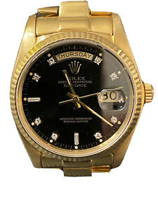 Mens Rolex Day-Date President Solid 18k Gold Warch Black Diamond Dial 18038