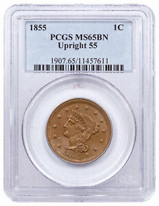 1855 Braided Hair Large Cent Upright 55 PCGS MS65 BN SKU56908