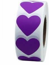 Heart Stickers PURPLE Labels Seals Craft Wedding Favours Toppers Valentines 3CM