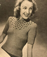 1940s Embroidered Flowers Half Sleeve Crop Jumper Patons Knitting Pattern PDF