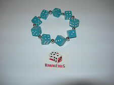 NEW HAND MADE BLUE DICE BRACELET WITH WHITE PIPS FREE SHIPPING