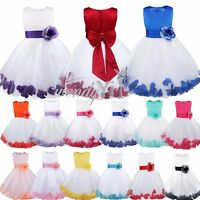 Flower Girls Dress Petals Vintage Princess Formal Pageant Wedding Birthday Party