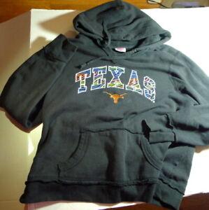 Black Texas Longhorns Hoodie Youth Size Unisex Large Hooded Sweatshirt Pullover