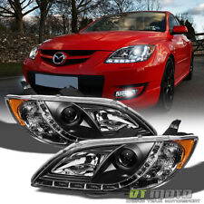 Blk 2004 2008 Mazda 3 Sedan 4dr Projector Headlights W Running Lamps Left Right Fits 2006
