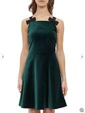 Ted Baker Green Velvet Skater Dress with Bow detail Size 4