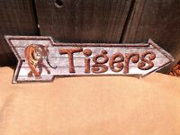 """Tigers This Way To Arrow Sign Directional Novelty Metal 17"""" x 5"""""""