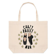 Crazy Ballet Man Stars Large Beach Tote Bag Ballerina Dancing Funny
