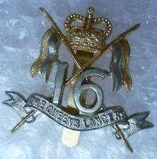 Badge VINTAGE The 16th Queens Lancers Cap Badge QC Bi Metal Slider Genuine