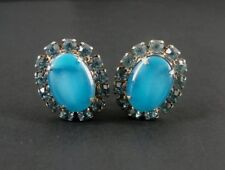 Vintage Blue Cat Eye Looking Stones and Rhinestones Gold Plate Clip On EARRINGS