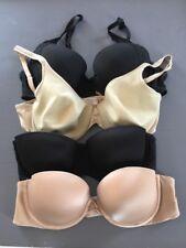 VICTORIA SECRET Bras, Size 34C, Lot of FOUR, Black And Nude, Strapless Demi