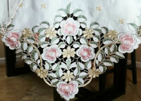 """Polyester 90"""" Square Rose Embroidery Cutwork Tablecloth Napkin Party Event Decor"""