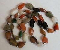 "Vintage Real Agate Gem Stone Pebble 26"" necklace"