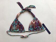 NEW MAR By Vix Women's Swim Halter Bikini Top Purple & Aqua Print Size XS