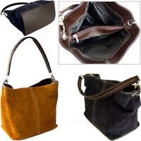 Mustard Yellow Italian Real Suede Leather Shoulder Handbag Small Ladies Tote Bag