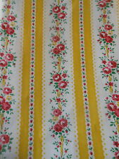 Antique French Lisere Roses Ribbon Stripe Cotton Fabric ~Yellow Red Pink Green
