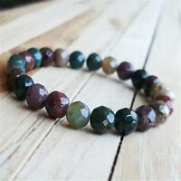 8mm Faceted Jade Beads Handmade Mala Bracelet Bangle Wristband Chakra Tibetan