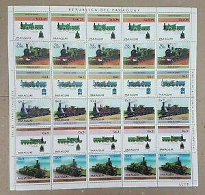 EC130 1984 PARAGUAY TRANSPORTATION TRAINS MICHEL 26 EU !! BIG SH FOLDED IN 2 MNH