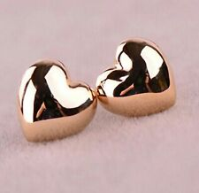 Cute New Fashion Jewelry Yellow Gold Plated Alloy Heart Stud Post Earrings