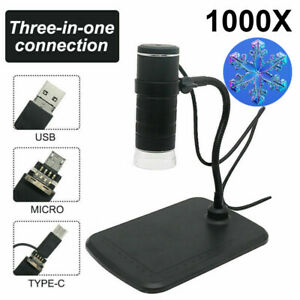 3 in 1 1000X Zoom Digital Microscope 8 LED HD Camera For PCB soldering Inspect