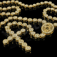 14k Gold CZ Iced Out ROSARY FLOWER Pendant Cross Jesus Men Necklace Hiphop Chain
