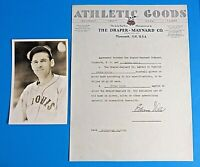 EDWIN ED EDDIE WELLS SIGNED CONTRACT FOR BASEBALL GLOVES w George Burke Photo
