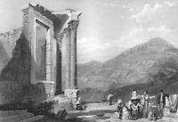 Italy TIVOLI ROMAN VESTA TEMPLE RUINS Villa Gregoriana, 1833 Art Print Engraving