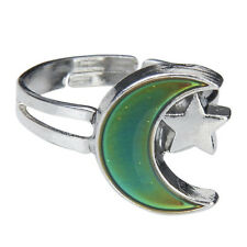 BT Moon and Star Shape Color Change Emotion Feeling Mood Ring Changeable Band