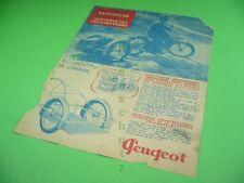 406KA2 30er Jahre Prospekt: PEUGEOT REMORQUE pour VÉLOMOTEURS, BICYCLETTE ~1939