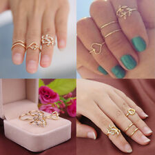 Women Fashion 4Pcs Rings Urban Gold Plated Crystal Above Knuckle Band Midi Ring