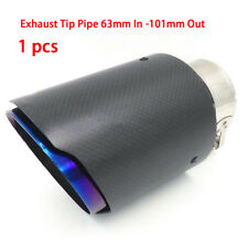 Universal 63mm-101mm  Blue Burnt Steel Carbon Fiber Exhaust Pipe tip Tail pipes